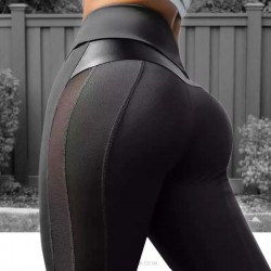 Black Pu Yoga Pants Tulle Sport Hip Lift Leggings Bodybuilding Pants Women
