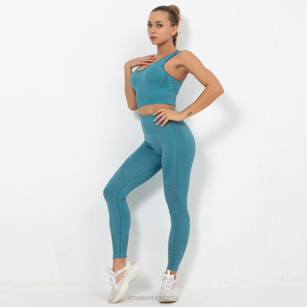 Knitted Seamless Hollow Out Hip Lift Yoga Pants Sport Yoga Bra Bodybuilding Suits